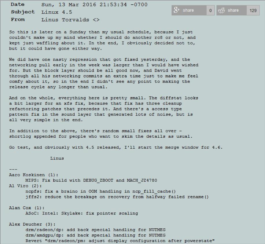Новое ядро Linux 4 5 - Основные новшества и изменения