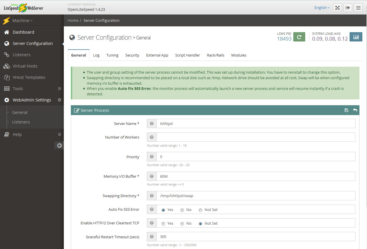 Настройки основных параметров OpenLiteSpeed в веб-панели